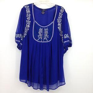 Denim 24/7 Women's Blouse Blue with Silver Sz 30W